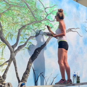 Tracie Eaton painting mural